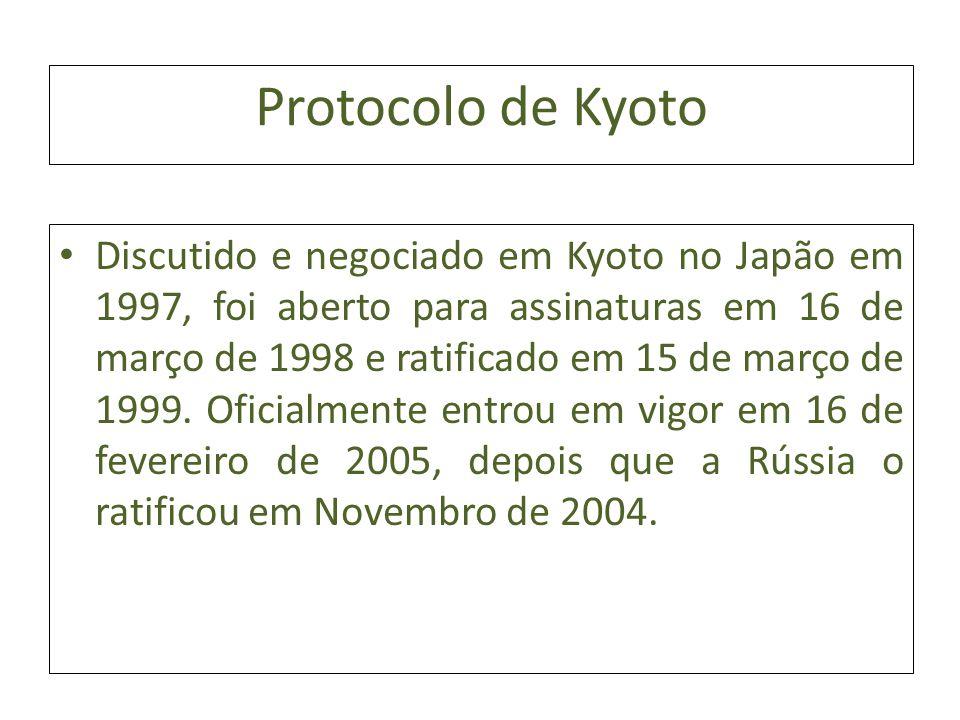 Protocolo de Kyoto Discutido e negociado em Kyoto no Japão em 1997, foi aberto para assinaturas em 16 de março de 1998 e ratificado em 15 de março de