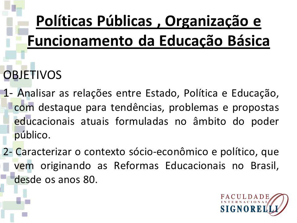 Políticas Públicas, Organização e Funcionamento da Educação Básica OBJETIVOS 1- A nalisar as relações entre Estado, Política e Educação, com destaque