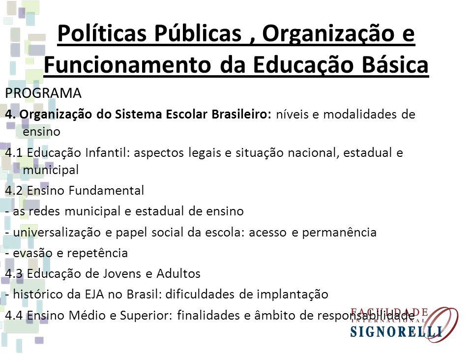 Políticas Públicas, Organização e Funcionamento da Educação Básica PROGRAMA 4. Organização do Sistema Escolar Brasileiro: níveis e modalidades de ensi