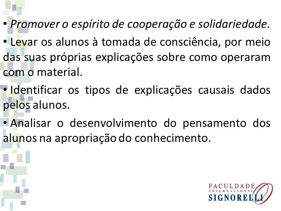 Promover o espírito de cooperação e solidariedade. Levar os alunos à tomada de consciência, por meio das suas próprias explicações sobre como operaram