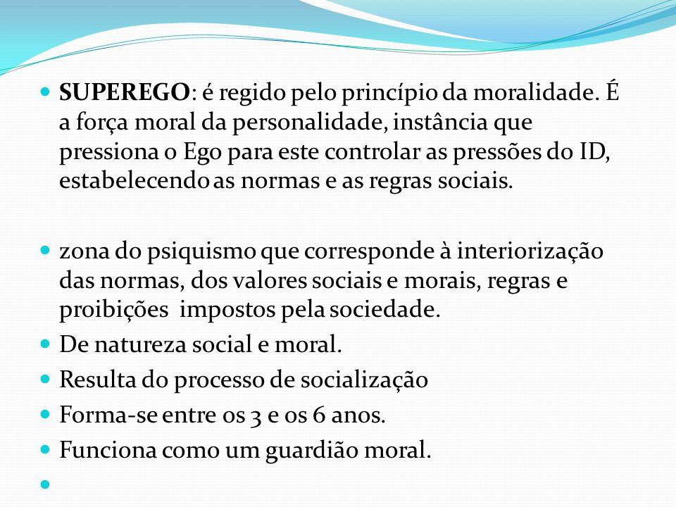 SUPEREGO: é regido pelo princípio da moralidade. É a força moral da personalidade, instância que pressiona o Ego para este controlar as pressões do ID