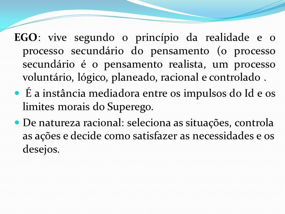 EGO: vive segundo o princípio da realidade e o processo secundário do pensamento (o processo secundário é o pensamento realista, um processo voluntári