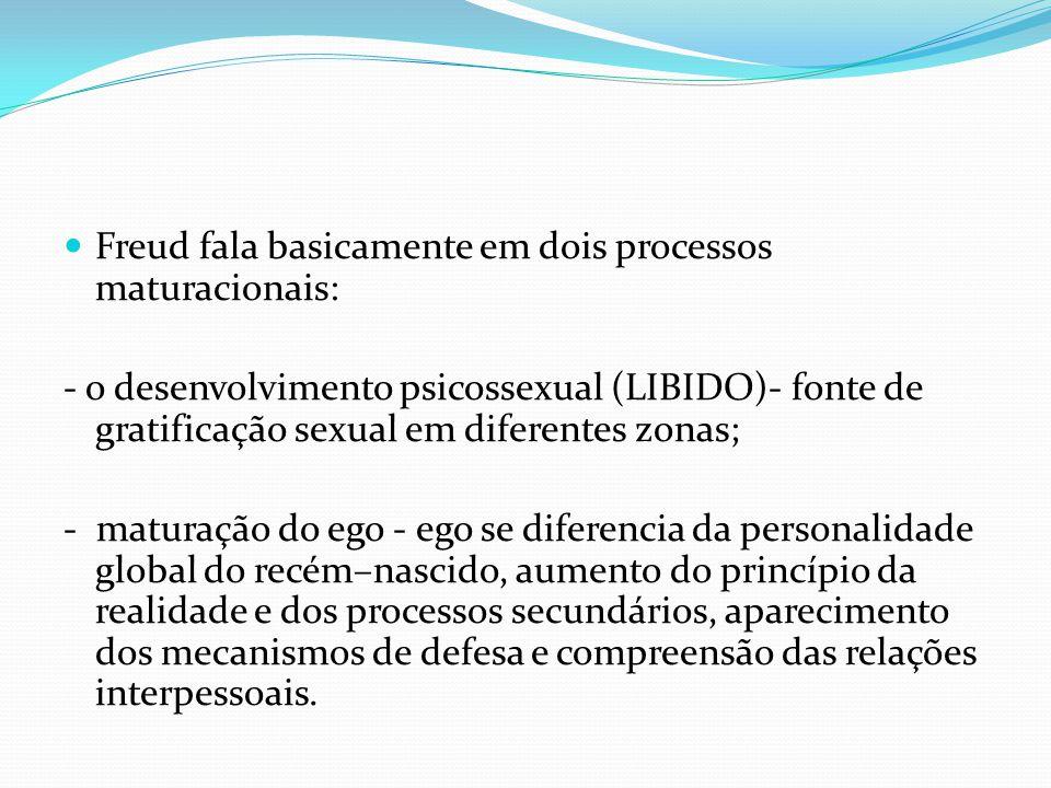 Freud fala basicamente em dois processos maturacionais: - o desenvolvimento psicossexual (LIBIDO)- fonte de gratificação sexual em diferentes zonas; -