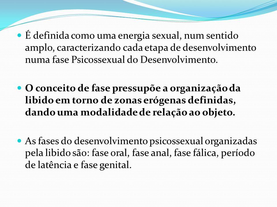 É definida como uma energia sexual, num sentido amplo, caracterizando cada etapa de desenvolvimento numa fase Psicossexual do Desenvolvimento. O conce