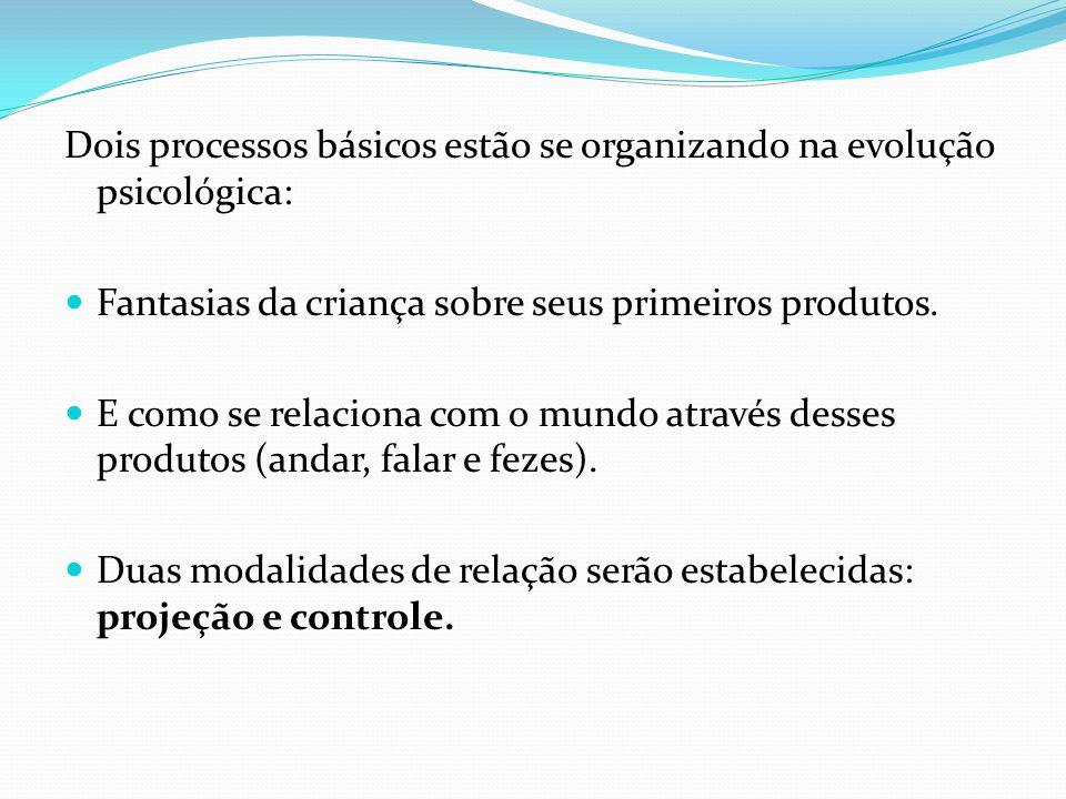 Dois processos básicos estão se organizando na evolução psicológica: Fantasias da criança sobre seus primeiros produtos. E como se relaciona com o mun