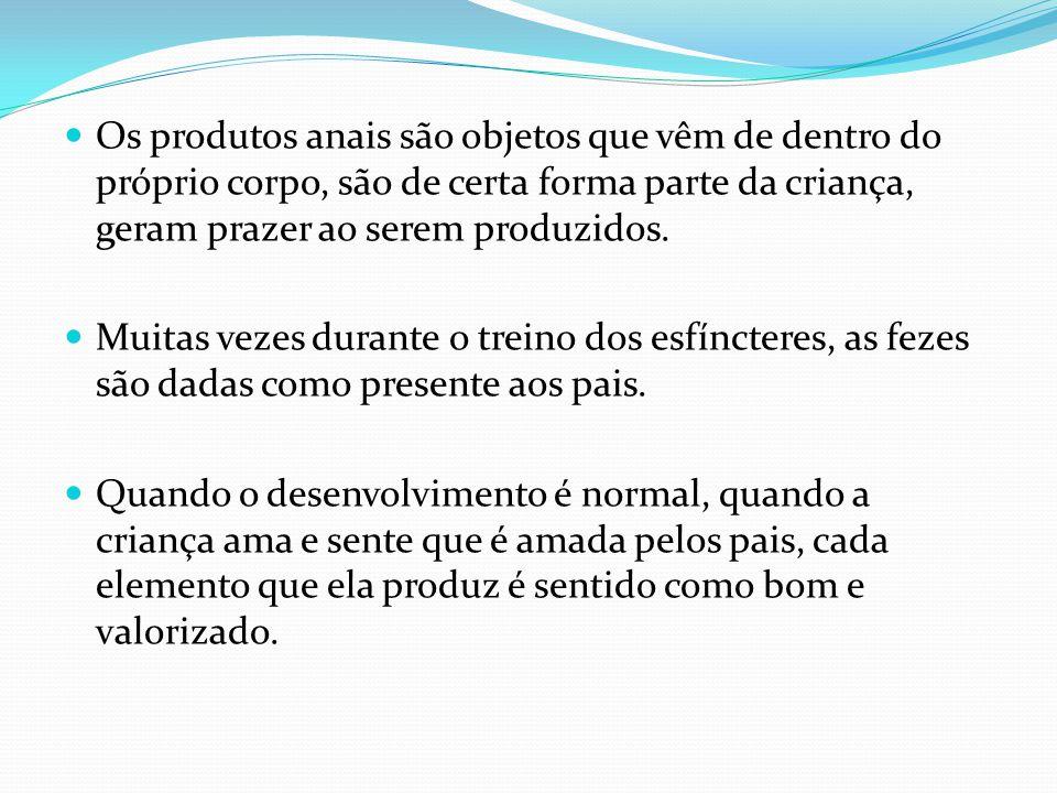 Os produtos anais são objetos que vêm de dentro do próprio corpo, são de certa forma parte da criança, geram prazer ao serem produzidos. Muitas vezes