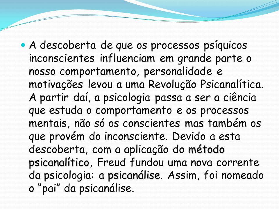 método psicanalítico a psicanálise A descoberta de que os processos psíquicos inconscientes influenciam em grande parte o nosso comportamento, persona