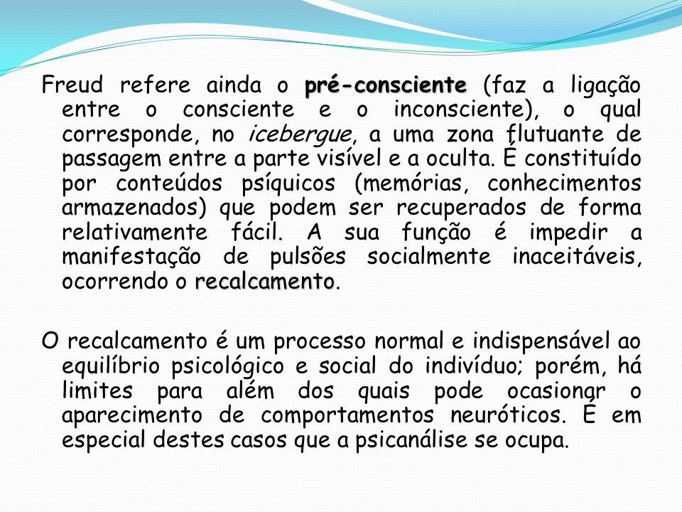 pré-consciente recalcamento Freud refere ainda o pré-consciente (faz a ligação entre o consciente e o inconsciente), o qual corresponde, no icebergue,
