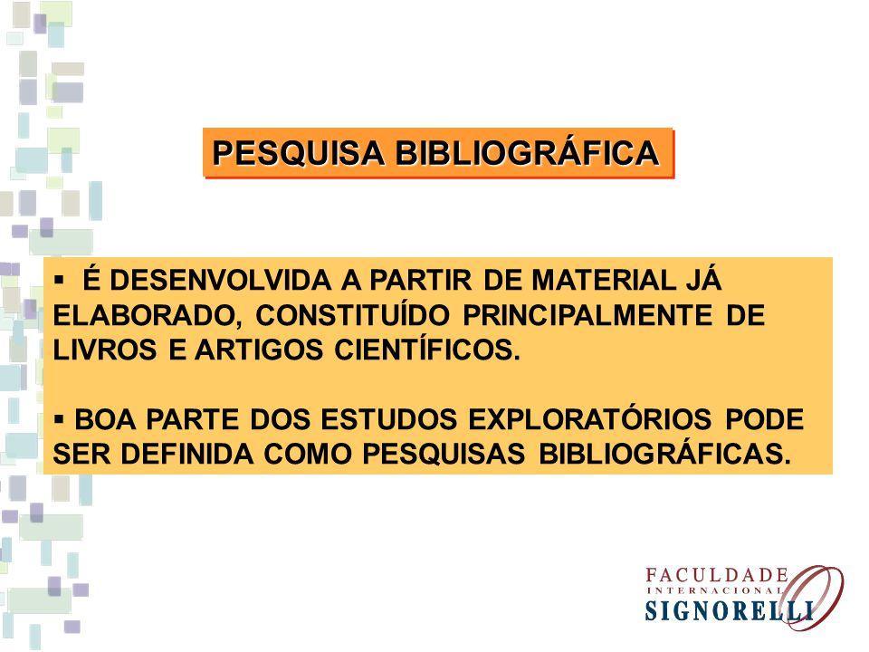PESQUISA BIBLIOGRÁFICA É DESENVOLVIDA A PARTIR DE MATERIAL JÁ ELABORADO, CONSTITUÍDO PRINCIPALMENTE DE LIVROS E ARTIGOS CIENTÍFICOS. BOA PARTE DOS EST