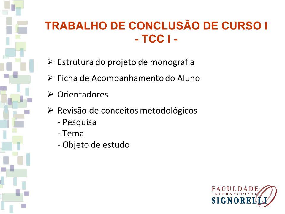 Estrutura do projeto de monografia Ficha de Acompanhamento do Aluno Orientadores Revisão de conceitos metodológicos - Pesquisa - Tema - Objeto de estu