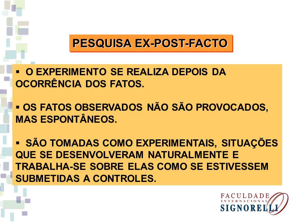 PESQUISA EX-POST-FACTO O EXPERIMENTO SE REALIZA DEPOIS DA OCORRÊNCIA DOS FATOS. OS FATOS OBSERVADOS NÃO SÃO PROVOCADOS, MAS ESPONTÂNEOS. SÃO TOMADAS C