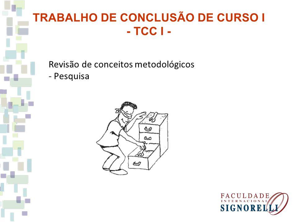 Revisão de conceitos metodológicos - Pesquisa TRABALHO DE CONCLUSÃO DE CURSO I - TCC I -