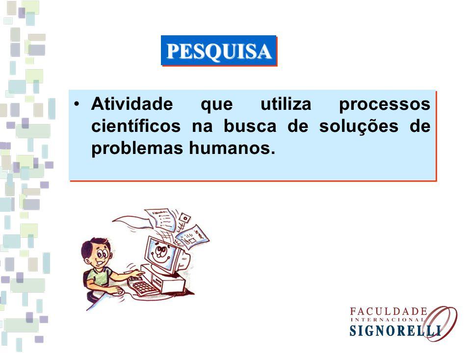 Atividade que utiliza processos científicos na busca de soluções de problemas humanos. PESQUISAPESQUISA