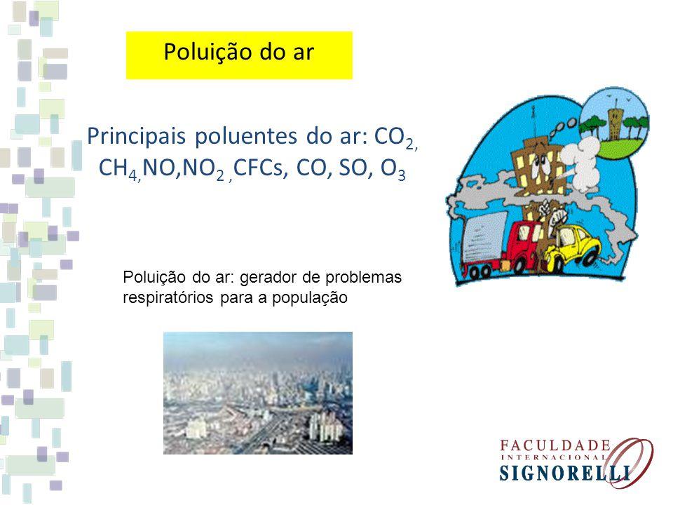 Poluição do ar Poluição do ar: gerador de problemas respiratórios para a população Principais poluentes do ar: CO 2, CH 4, NO,NO 2, CFCs, CO, SO, O 3