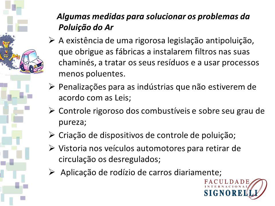 Algumas medidas para solucionar os problemas da Poluição do Ar A existência de uma rigorosa legislação antipoluição, que obrigue as fábricas a instala