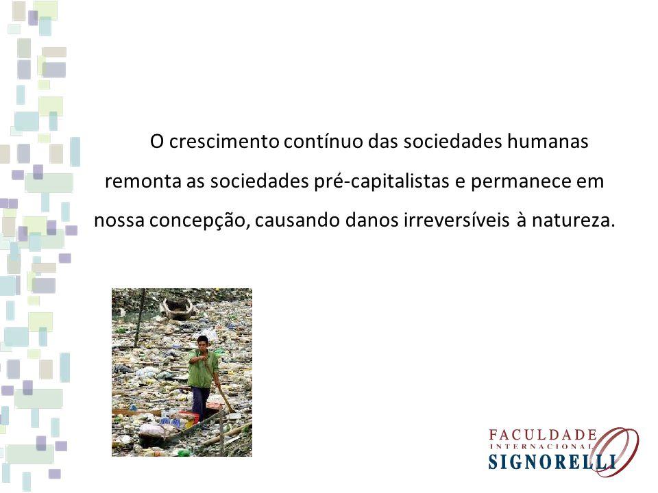 O crescimento contínuo das sociedades humanas remonta as sociedades pré-capitalistas e permanece em nossa concepção, causando danos irreversíveis à na