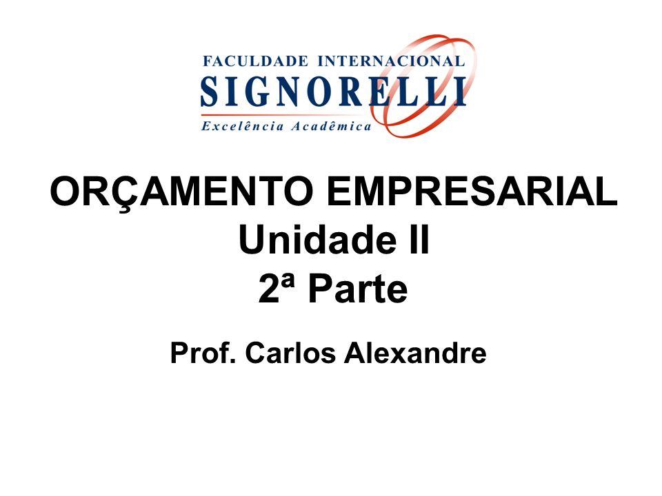 ORÇAMENTO EMPRESARIAL Unidade II 2ª Parte Prof. Carlos Alexandre