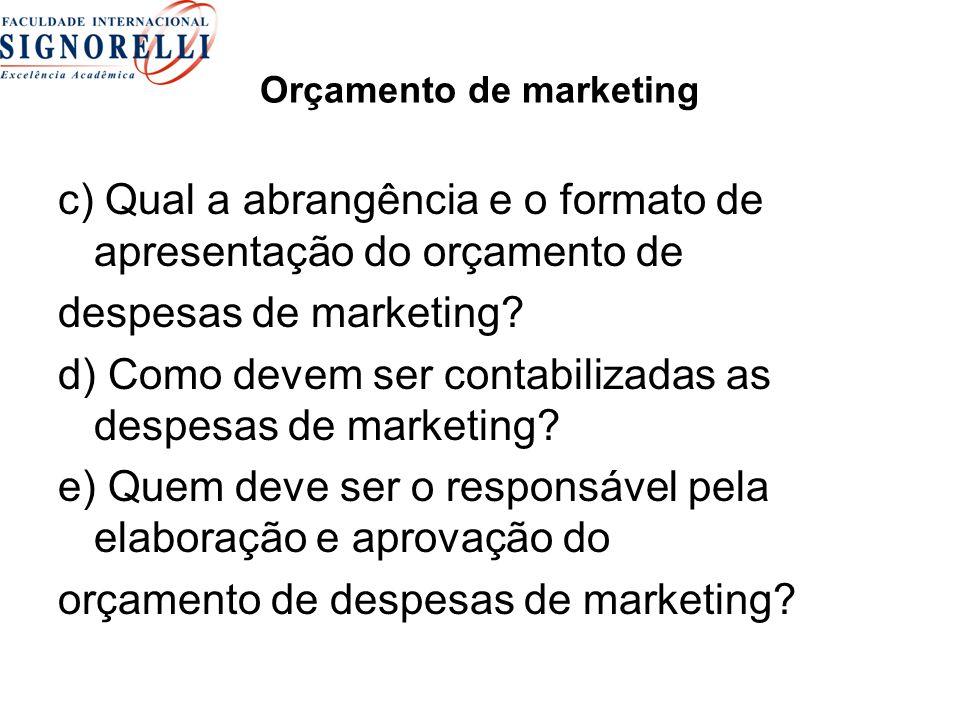 Orçamento de marketing c) Qual a abrangência e o formato de apresentação do orçamento de despesas de marketing.
