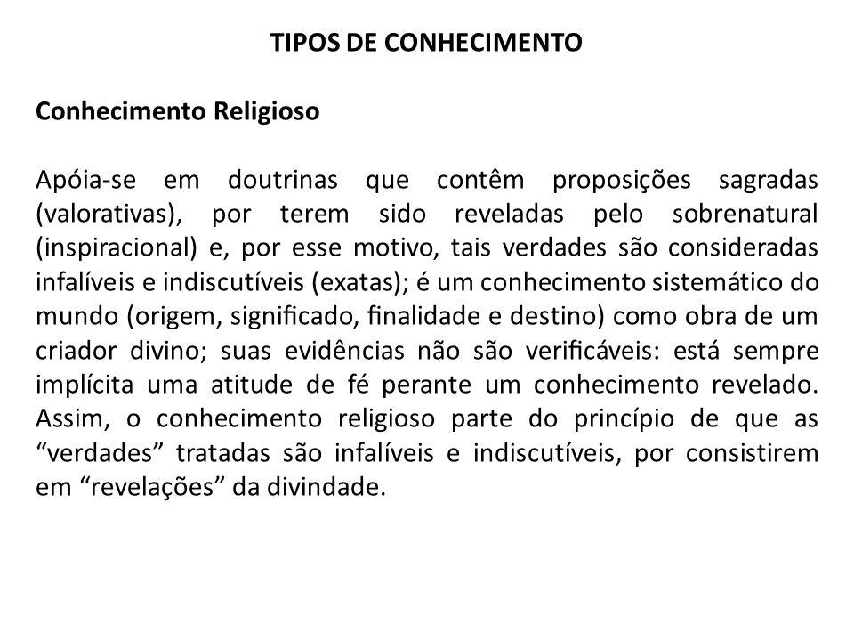 TIPOS DE CONHECIMENTO Conhecimento Religioso Apóia-se em doutrinas que contêm proposições sagradas (valorativas), por terem sido reveladas pelo sobren