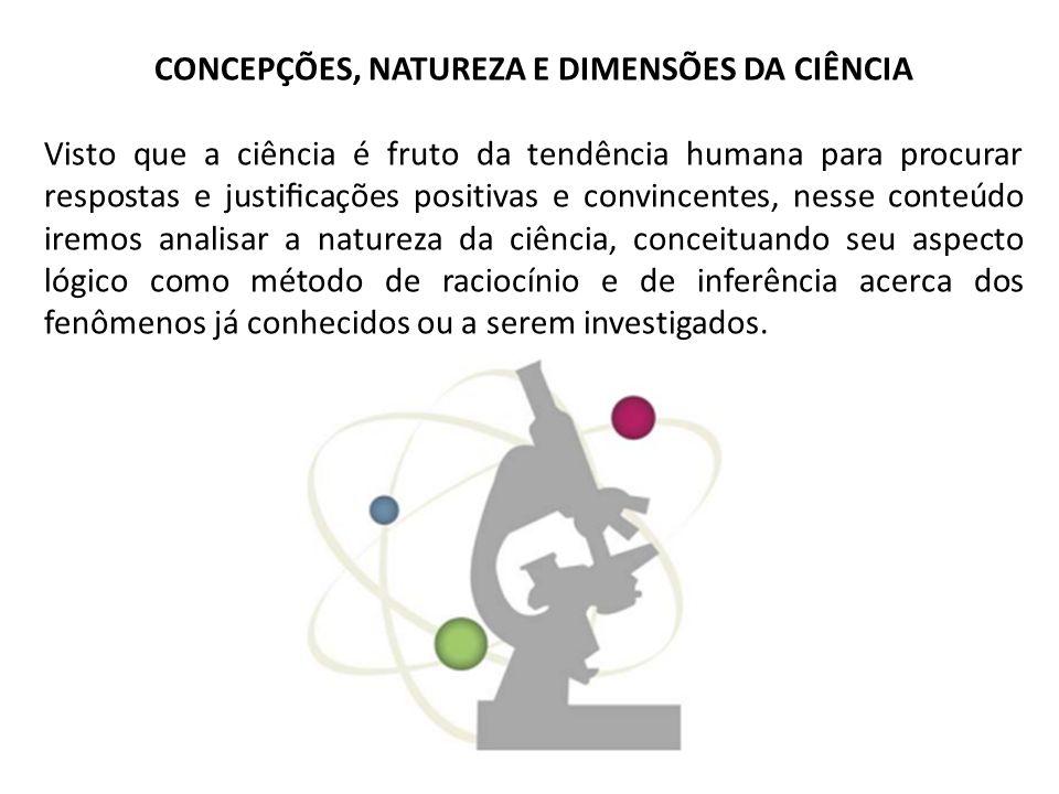 CONCEPÇÕES, NATUREZA E DIMENSÕES DA CIÊNCIA Visto que a ciência é fruto da tendência humana para procurar respostas e justicações positivas e convince