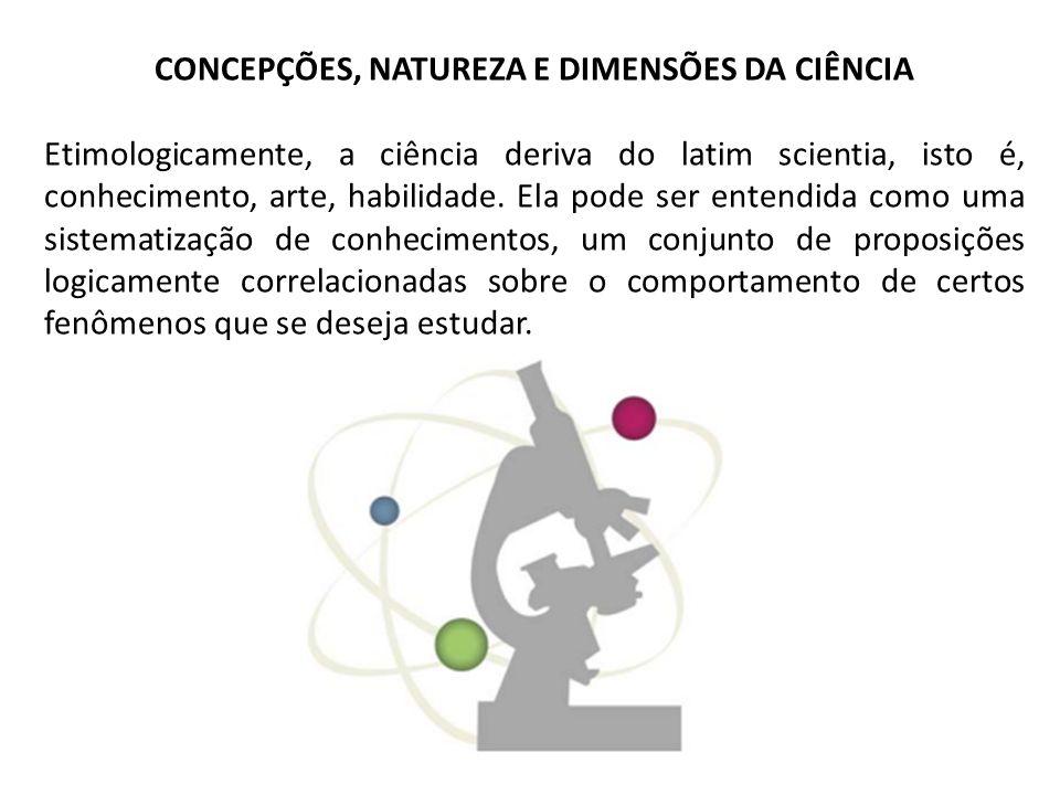CONCEPÇÕES, NATUREZA E DIMENSÕES DA CIÊNCIA Etimologicamente, a ciência deriva do latim scientia, isto é, conhecimento, arte, habilidade. Ela pode ser