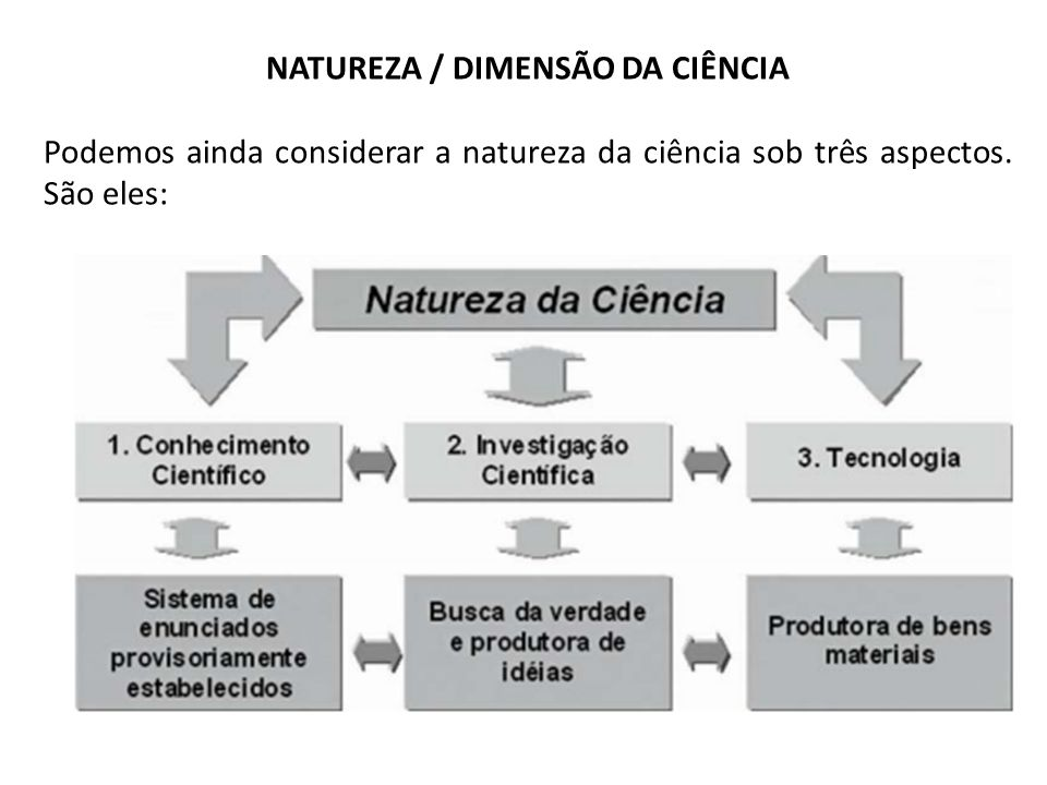 NATUREZA / DIMENSÃO DA CIÊNCIA Podemos ainda considerar a natureza da ciência sob três aspectos. São eles: