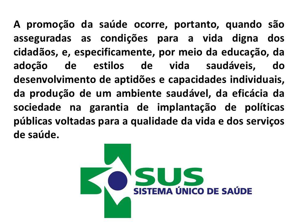 A promoção da saúde ocorre, portanto, quando são asseguradas as condições para a vida digna dos cidadãos, e, especificamente, por meio da educação, da