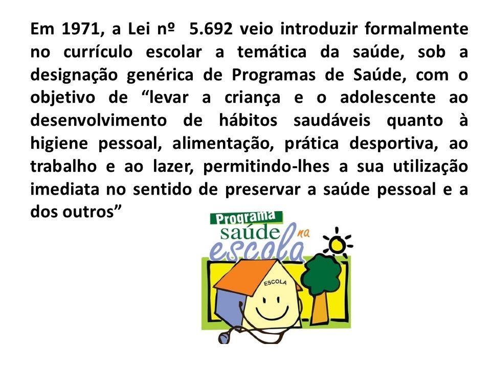 Em 1971, a Lei nº 5.692 veio introduzir formalmente no currículo escolar a temática da saúde, sob a designação genérica de Programas de Saúde, com o o