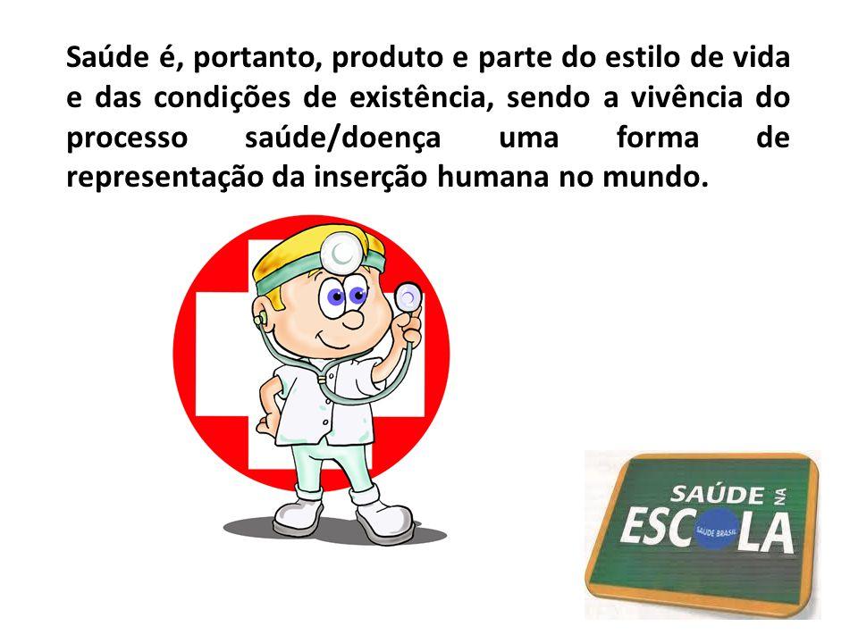 Saúde é, portanto, produto e parte do estilo de vida e das condições de existência, sendo a vivência do processo saúde/doença uma forma de representaç