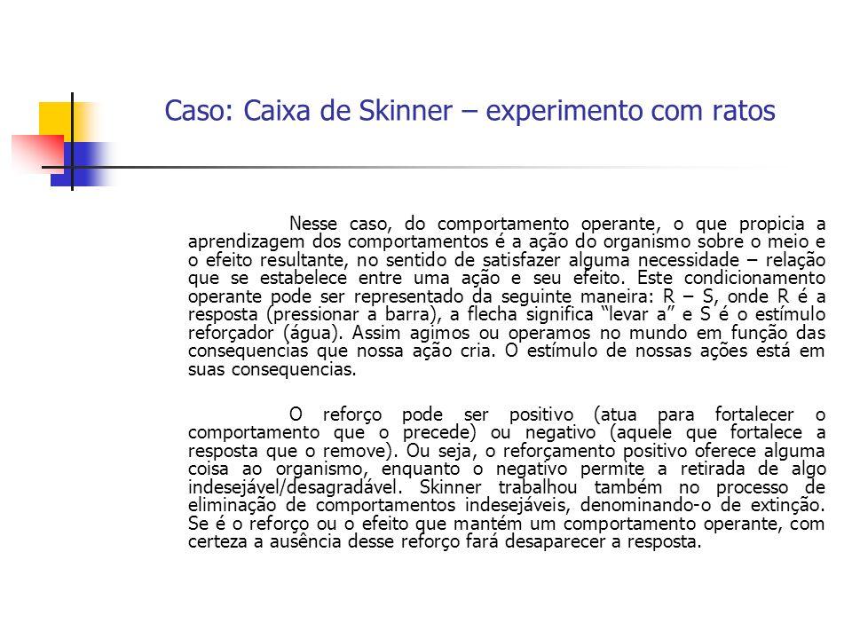 Caso: Caixa de Skinner – experimento com ratos Nesse caso, do comportamento operante, o que propicia a aprendizagem dos comportamentos é a ação do org
