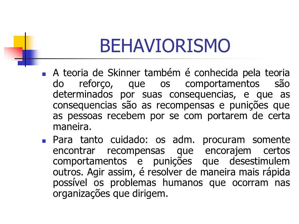 BEHAVIORISMO A teoria de Skinner também é conhecida pela teoria do reforço, que os comportamentos são determinados por suas consequencias, e que as co
