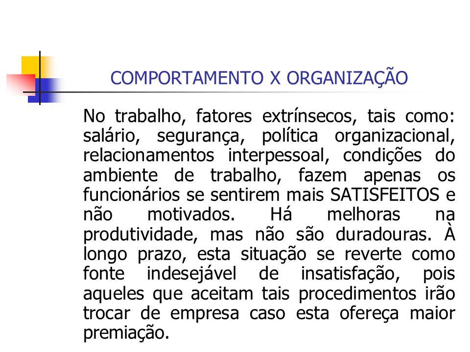 COMPORTAMENTO X ORGANIZAÇÃO No trabalho, fatores extrínsecos, tais como: salário, segurança, política organizacional, relacionamentos interpessoal, co