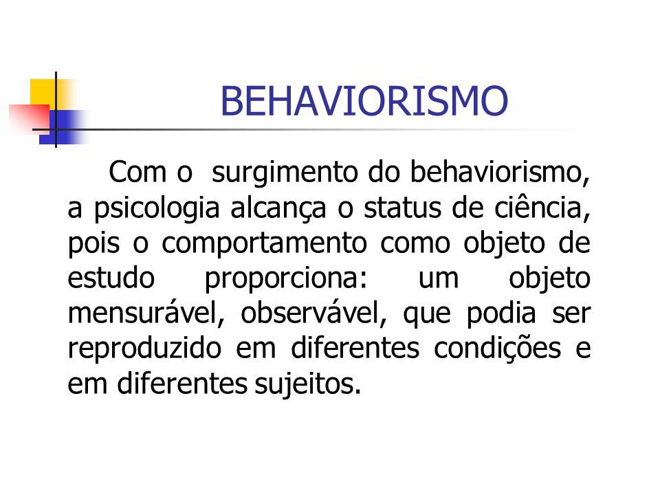 Com o surgimento do behaviorismo, a psicologia alcança o status de ciência, pois o comportamento como objeto de estudo proporciona: um objeto mensuráv