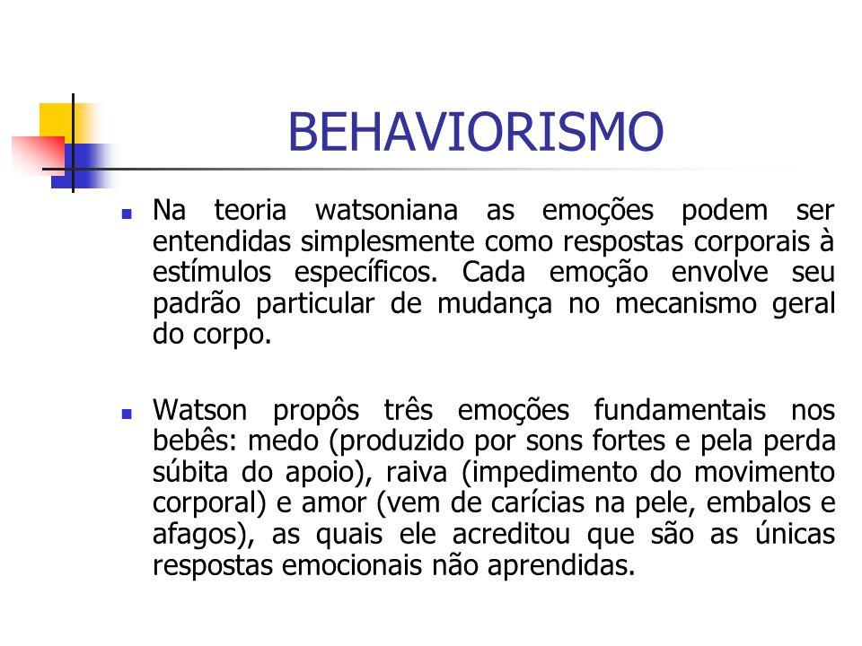 BEHAVIORISMO Na teoria watsoniana as emoções podem ser entendidas simplesmente como respostas corporais à estímulos específicos. Cada emoção envolve s