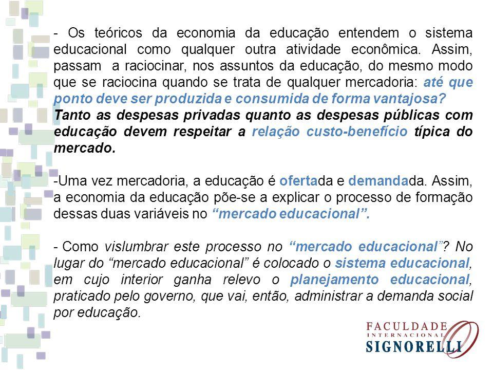 - Os teóricos da economia da educação entendem o sistema educacional como qualquer outra atividade econômica.
