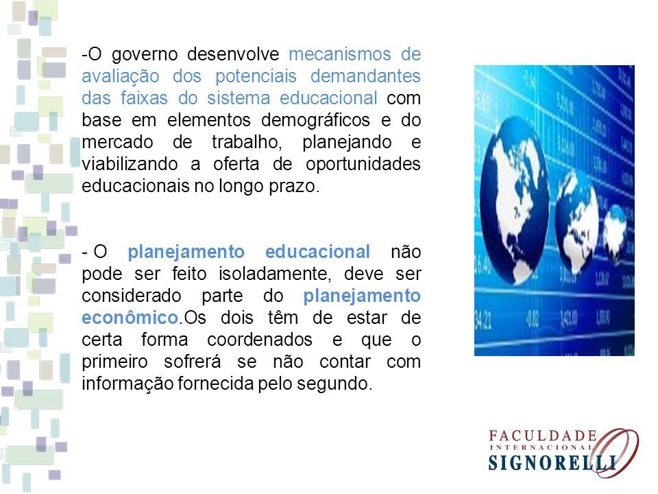 -O governo desenvolve mecanismos de avaliação dos potenciais demandantes das faixas do sistema educacional com base em elementos demográficos e do mercado de trabalho, planejando e viabilizando a oferta de oportunidades educacionais no longo prazo.