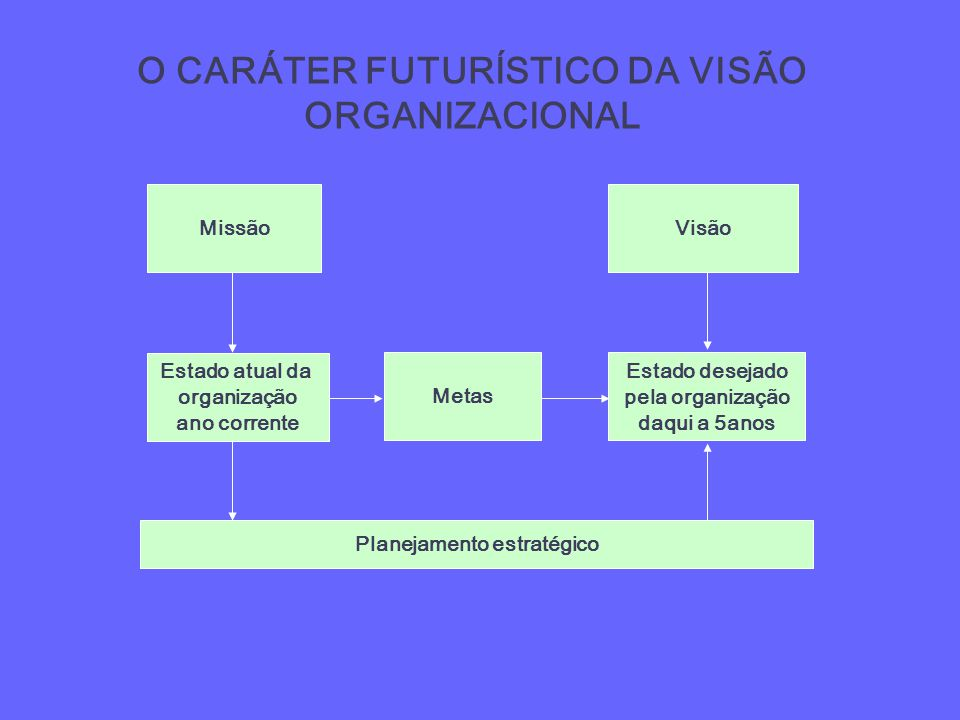 O CARÁTER FUTURÍSTICO DA VISÃO ORGANIZACIONAL Missão Estado atual da organização ano corrente Metas Estado desejado pela organização daqui a 5anos Vis