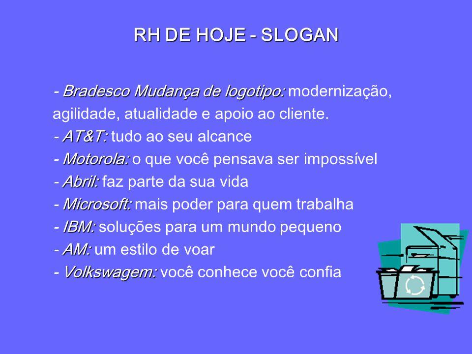 RH DE HOJE - SLOGAN Bradesco Mudança de logotipo: - Bradesco Mudança de logotipo: modernização, agilidade, atualidade e apoio ao cliente. AT&T: - AT&T