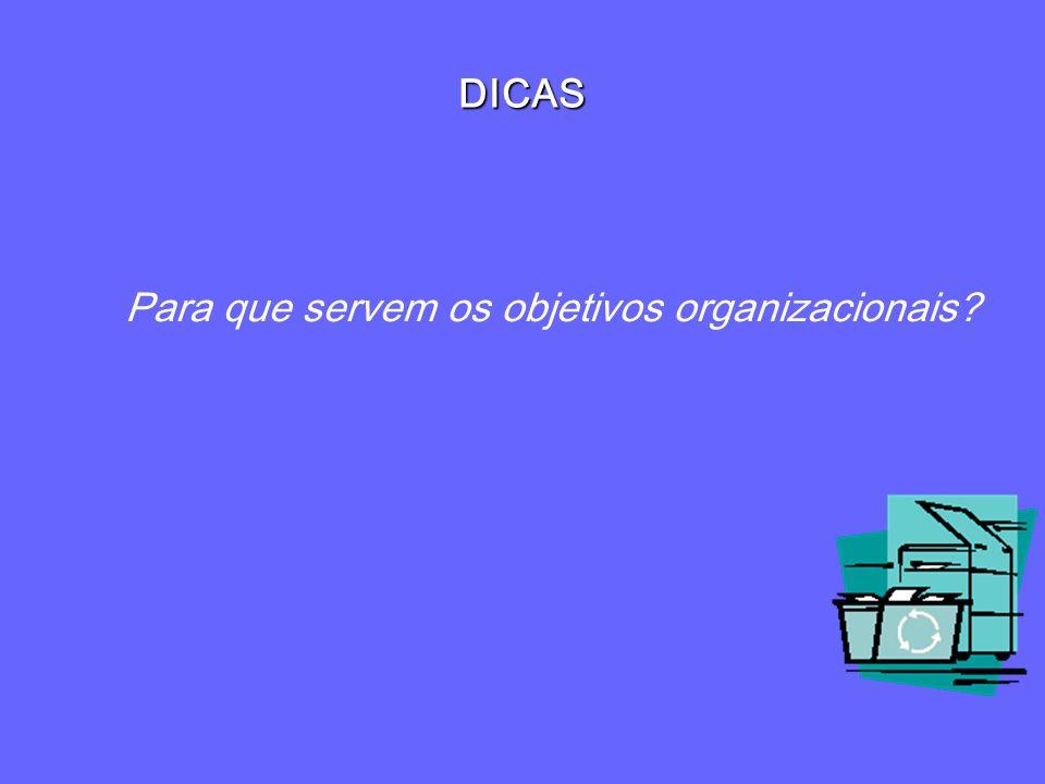 DICAS Para que servem os objetivos organizacionais?