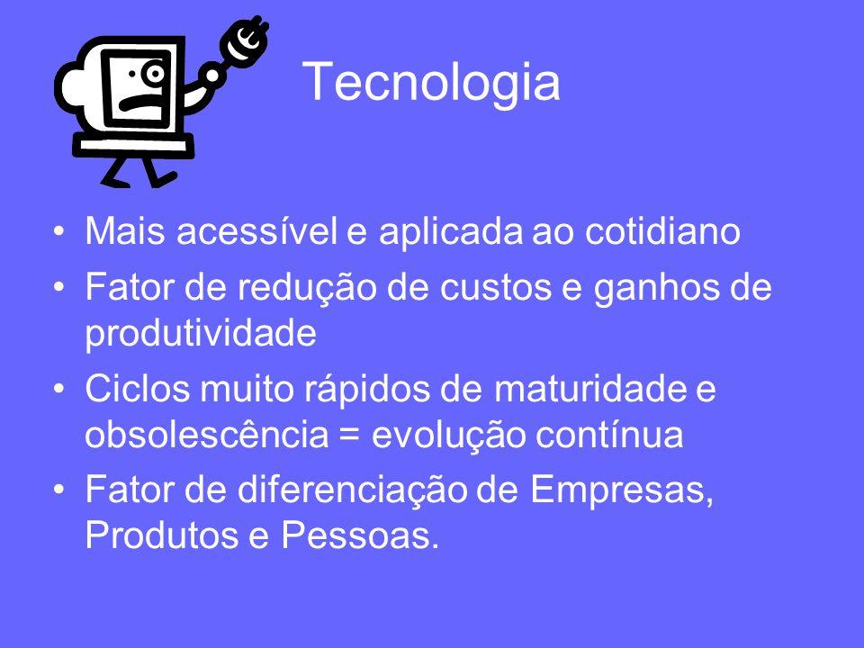 Tecnologia Mais acessível e aplicada ao cotidiano Fator de redução de custos e ganhos de produtividade Ciclos muito rápidos de maturidade e obsolescên