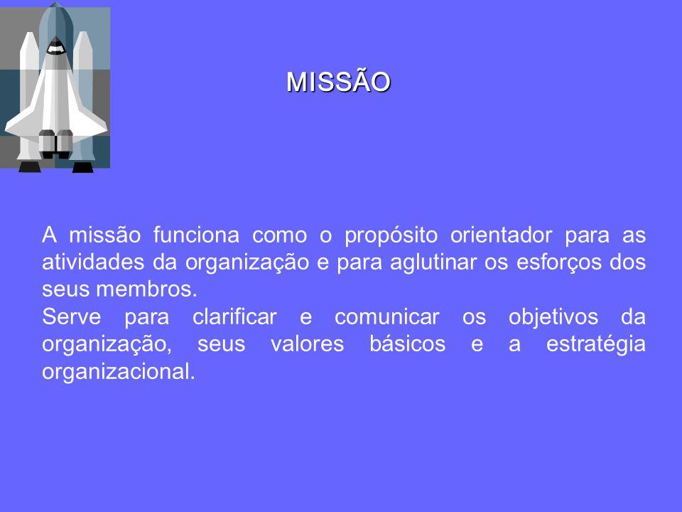 MISSÃO A missão funciona como o propósito orientador para as atividades da organização e para aglutinar os esforços dos seus membros. Serve para clari