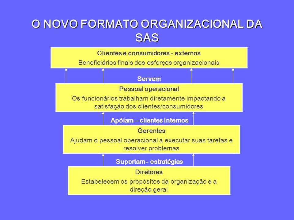 O NOVO FORMATO ORGANIZACIONAL DA SAS Clientes e consumidores - externos Beneficiários finais dos esforços organizacionais Pessoal operacional Os funci