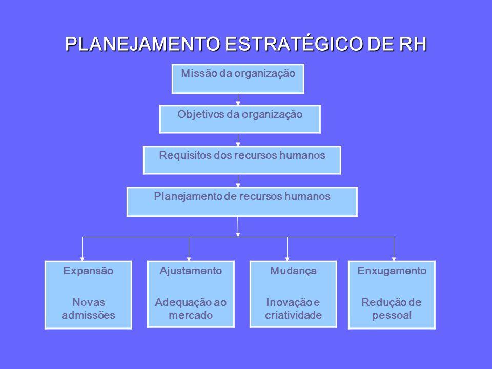PLANEJAMENTO ESTRATÉGICO DE RH Missão da organização Objetivos da organização Requisitos dos recursos humanos Planejamento de recursos humanos Ajustam