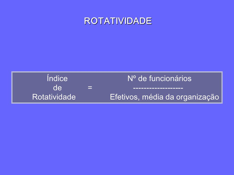 ROTATIVIDADE Índice Nº de funcionários de = ------------------- Rotatividade Efetivos, média da organização