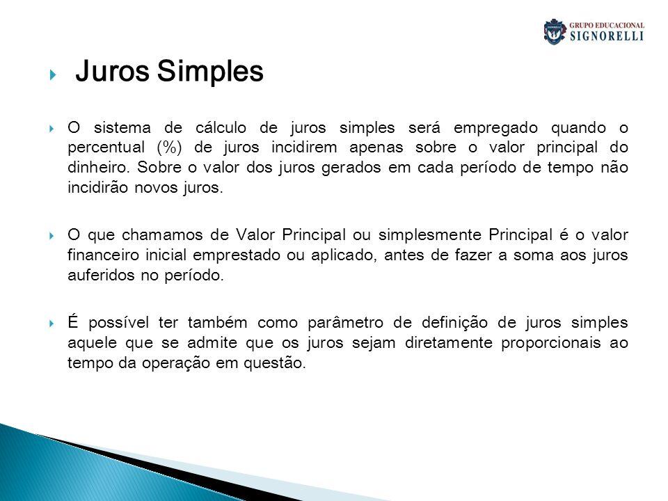 Juros Simples O sistema de cálculo de juros simples será empregado quando o percentual (%) de juros incidirem apenas sobre o valor principal do dinhei