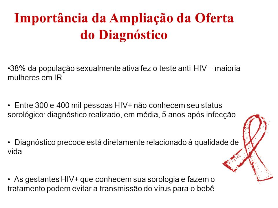 Importância da Ampliação da Oferta do Diagnóstico 38% da população sexualmente ativa fez o teste anti-HIV – maioria mulheres em IR Entre 300 e 400 mil