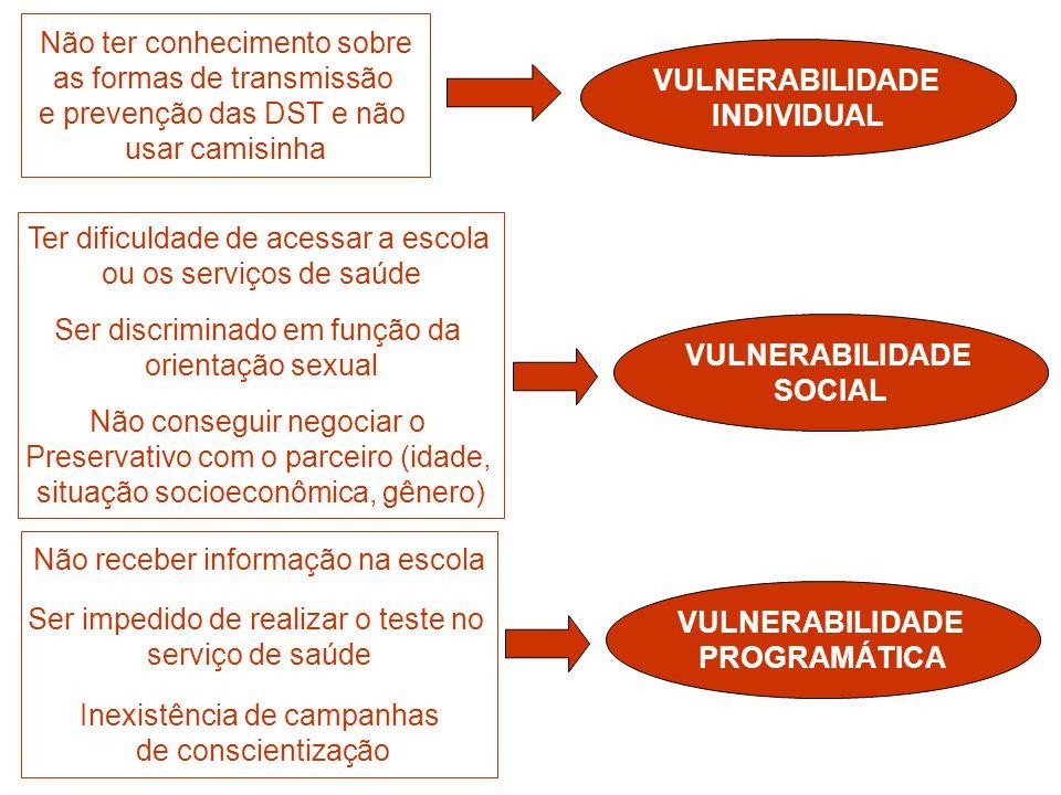 Atuar na perspectiva das vulnerabilidade significa levar em consideração o contexto de vida das pessoas e suas singularidades: Sexo e relações de gênero Geração Orientação Sexual Condição socioeconômica Escolaridade Estilos de vida