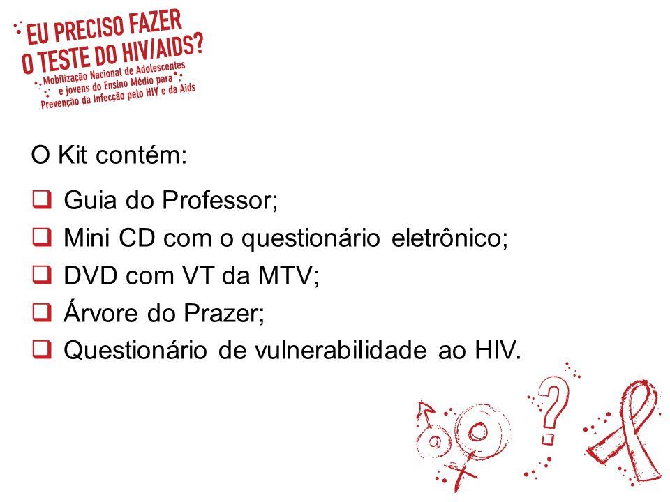 O Kit contém: Guia do Professor; Mini CD com o questionário eletrônico; DVD com VT da MTV; Árvore do Prazer; Questionário de vulnerabilidade ao HIV.