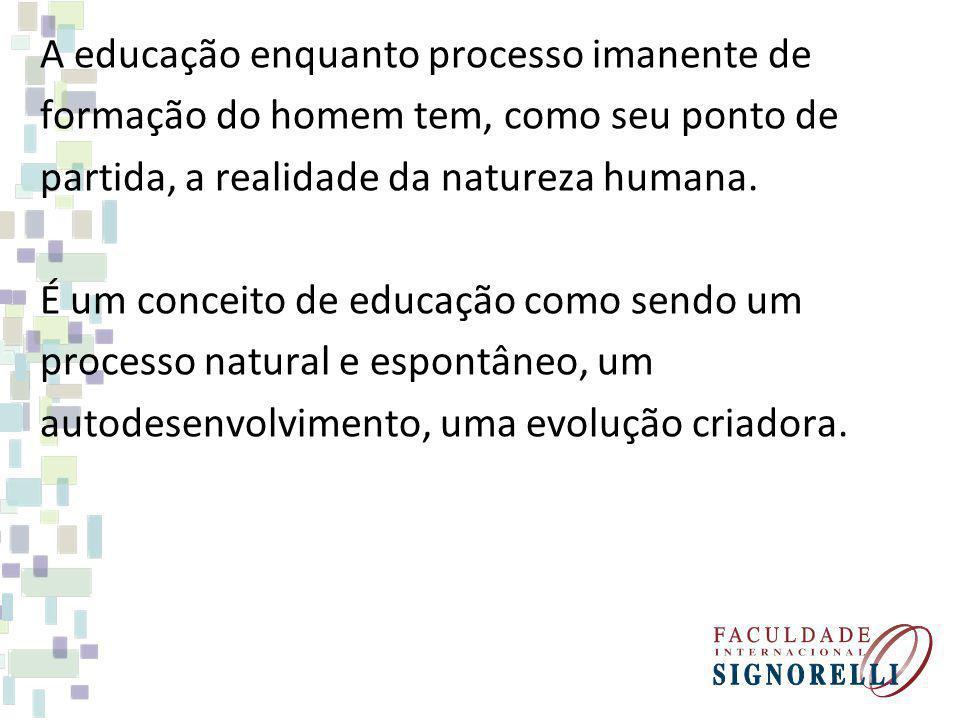 A educação enquanto processo imanente de formação do homem tem, como seu ponto de partida, a realidade da natureza humana. É um conceito de educação c
