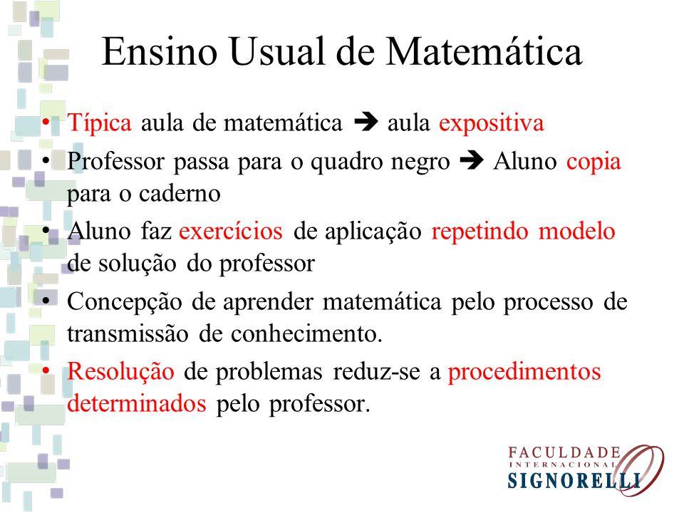 Ensino Usual de Matemática Típica aula de matemática aula expositiva Professor passa para o quadro negro Aluno copia para o caderno Aluno faz exercíci